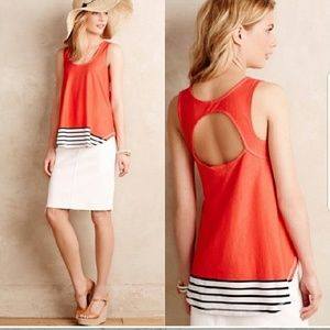 Anthropologie Deletta Cut Out Red Swing Tank M